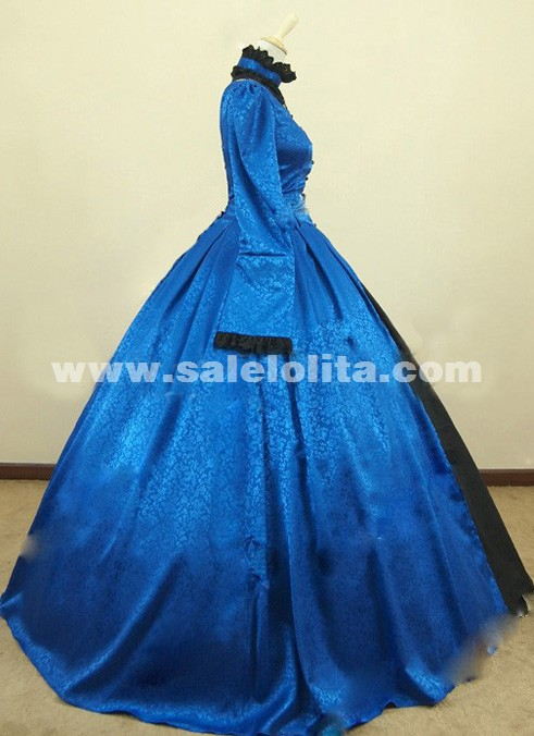 2016 Noble Blue And Black Long Sleeve Lace Renaissance Victorian Dresses Women's Victorian Ball Gowns