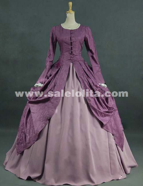 2016 Elegant Purple Long Sleeve Vintage Victorian Ball Gowns ...