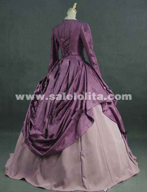 2016 Elegant Purple Long Sleeve Vintage Victorian Ball Gowns