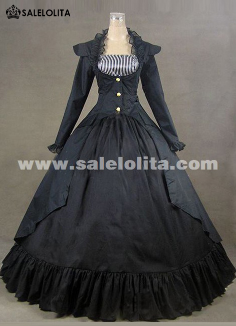 2016 Noble Black Long Sleeve Square Collar Civil War Renaissance