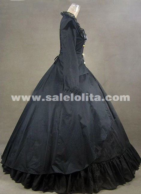 2016 Noble Black Long Sleeve Square Collar Civil War Renaissance Victorian Gothic Ball Gowns