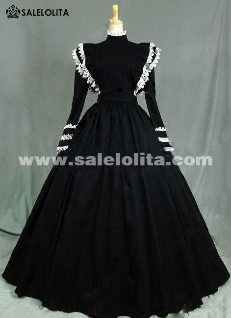 2016 Elegant Black Long Sleeve White Lace Renaissance Gothic
