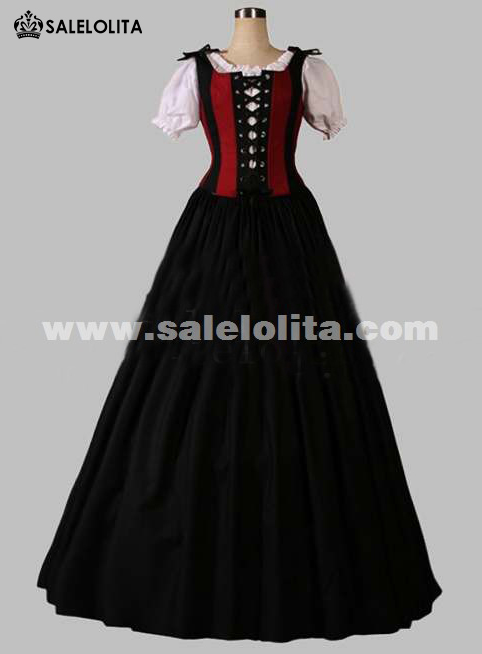 2016 Brand New Red And Black Short Sleeves Gothic Victorian Dresses Women's Party Ball Gown
