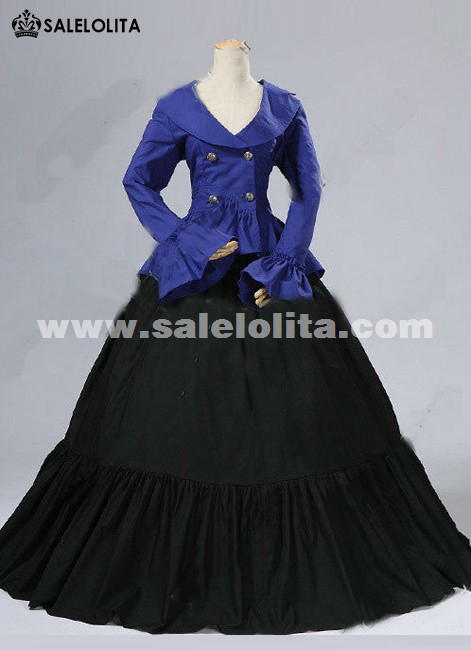 2016 Brand New Blue And Black Long Flare Sleeves Gothic Victorian Dress Civil War Marie Antoinette Ball Gowns Costumes