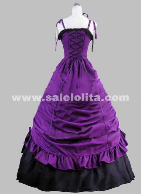 2016 Noble Fashion Purple Spaghetti Strap Victorian Ball Gown Women's Strapless Evning Party Dresses