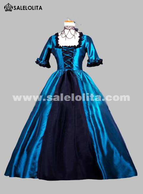 f62e89441c0e 2018 Noble Blue And Black Short Sleeves Square Collar Renaissance Victorian  Ball Gowns. Loading