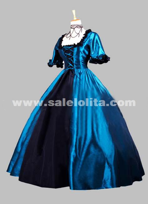 2016 Noble Blue And Black Short Sleeves Square Collar Renaissance Victorian Ball Gowns