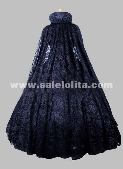 2016 Black Long Sleeve Stand Collar Lace Renaissance Gothic Victorian Ball Gowns