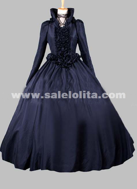 2016 Black Long Sleeve Stand Collar Lace Renaissance Gothic Victorian Ball Gowns Loading