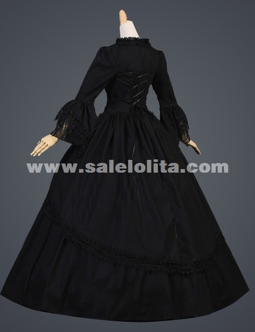2016 Noble Vintage Black Flare Sleeves Medieval Civil War Gothic Victorian Ball Gown For Party