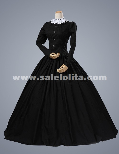 2016 Elegant Black Long Sleeves Retro Renaissance Gothic Victorian Dress Medieval Victorian Dress For Halloween
