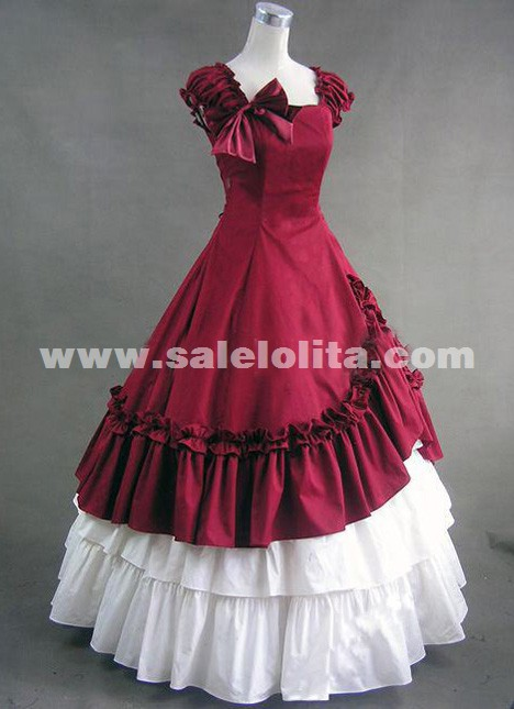 2018 Elegant Red And White Sleeveless Bow Ruffles Renaissance Lolita Victorian Ball Gowns
