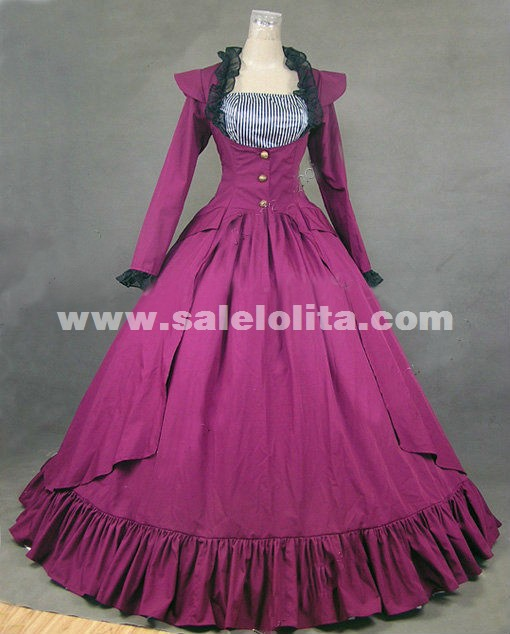 2016 New Purple Long Sleeves Victorian Gothic Lolita Marie Antoinette Civil War Southern Belle Ball Gown Dress For Women