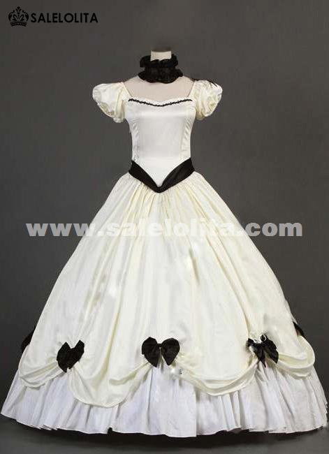 2016 Le Vintage White Short Sleeve Bow Ruffles Renaissance Victorian Dresses Loading