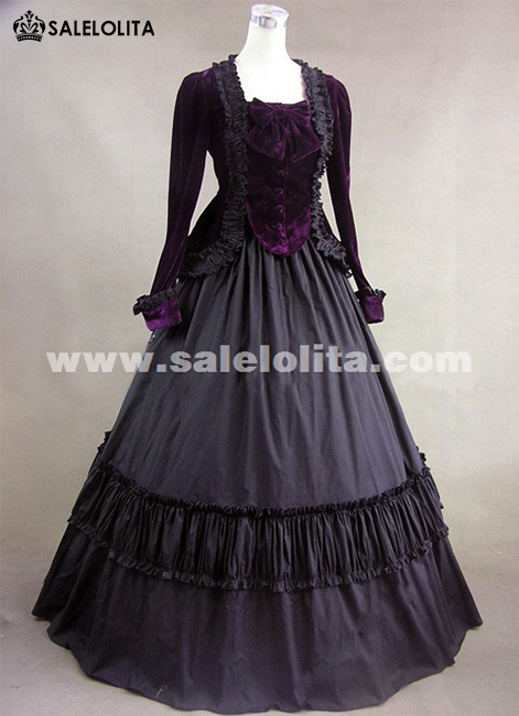 2016 Elegant Black Long Sleeve Vintage Medieval Gothic Victorian Ball Gowns