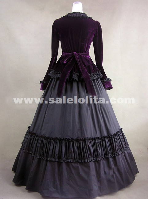 2018 Elegant Black Long Sleeve Vintage Medieval Gothic