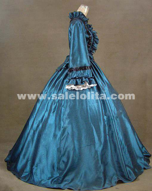 2016 Noble Blue Long Sleeve Medieval Civil War Victorian Dress Renaissance Gothic Victorian Ball Gowns