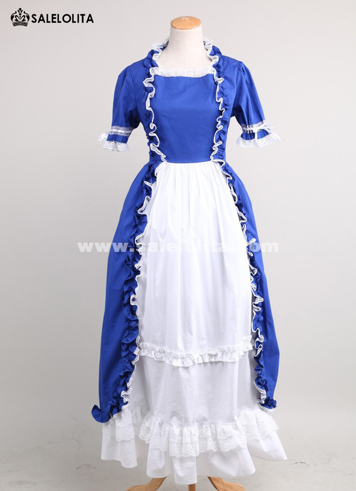 2016 Elegant Blue And White Short Sleeves Lace Cotton Renaissance Victorian Ball Gowns