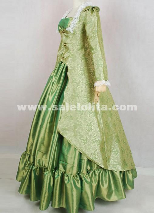 2018 Elegant Green Long Sleeves Lace Medieval Renaissance