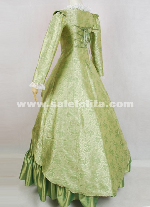 2016 Elegant Green Long Sleeves Lace Medieval Renaissance Victorian Southern Ball Gown Women's Halloween Party Dress Costumes