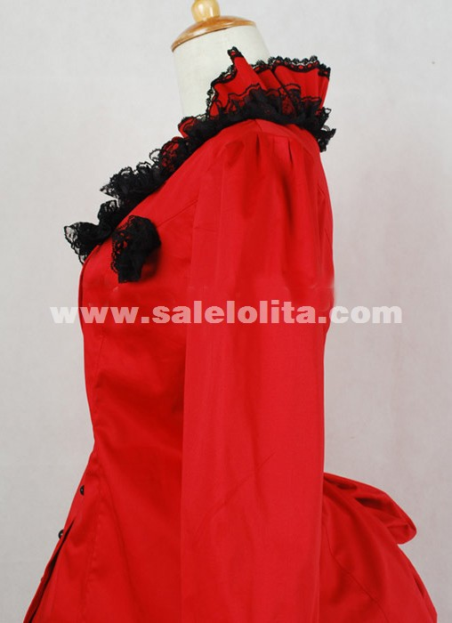 2018 Elegant Red Long Sleeves Lace Renaissance Dress Women