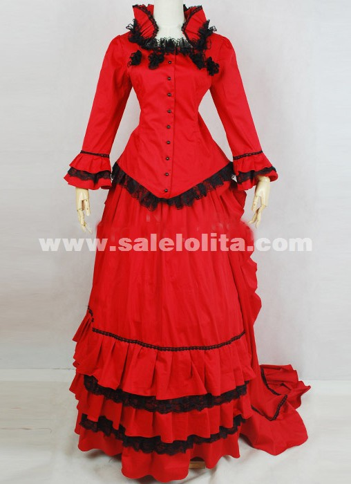 2016 Elegant Red Long Sleeves Lace Renaissance Dress Women's 19th Century Civil War Victorian Bustle Ball Gowns