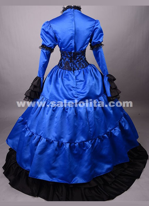 2016 New Blue And Black Long Sleeve Bow Renaissance Southern Ball Gowns Victorian Dress For Halloween