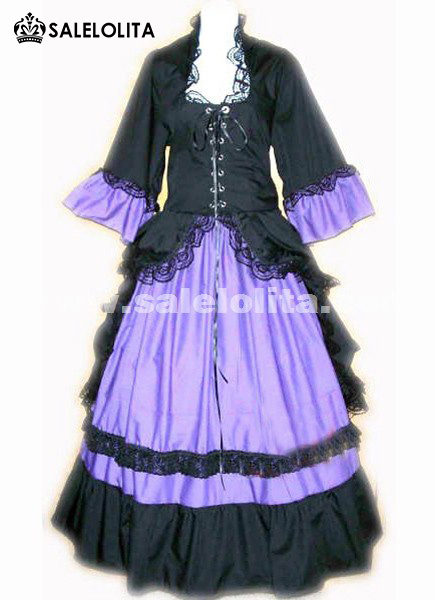 2016 Custom Black And Purple Half Sleeve Lace Medieval Renaissance Gothic Victorian Bustle Dresses