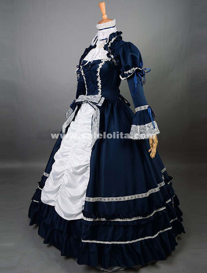 2016 Elegant Dark Blue And White Renaissance Victorian Ball Gowns