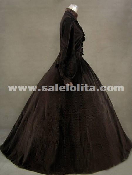 2016 Elegant Brown Vintage Long Sleeve Ruffles 17th 18th Century Renaissance Dresses Medieval Civil War Victorian Ball Gowns