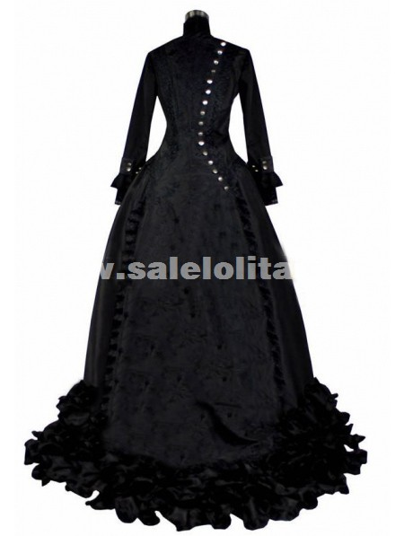 2016 Elegant Black Long Sleeve Stand Collar 19th Century Renaissance Victorian Bustle Ball Gowns