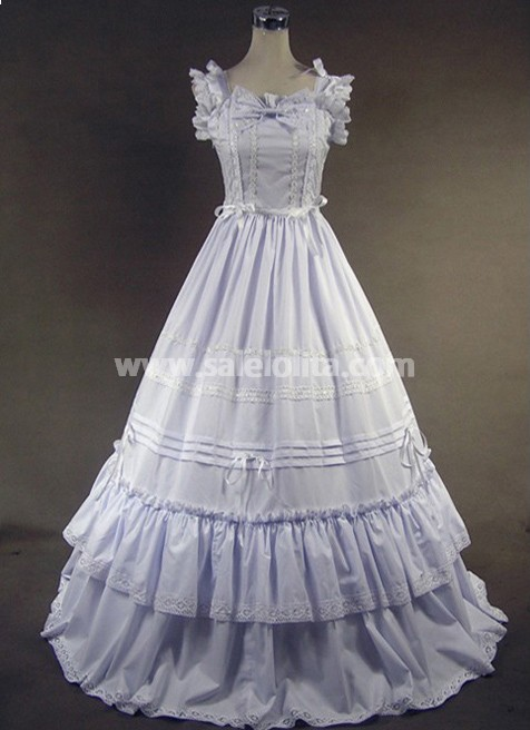 Beautiful Two Layer White Victorian Style Loita Dress