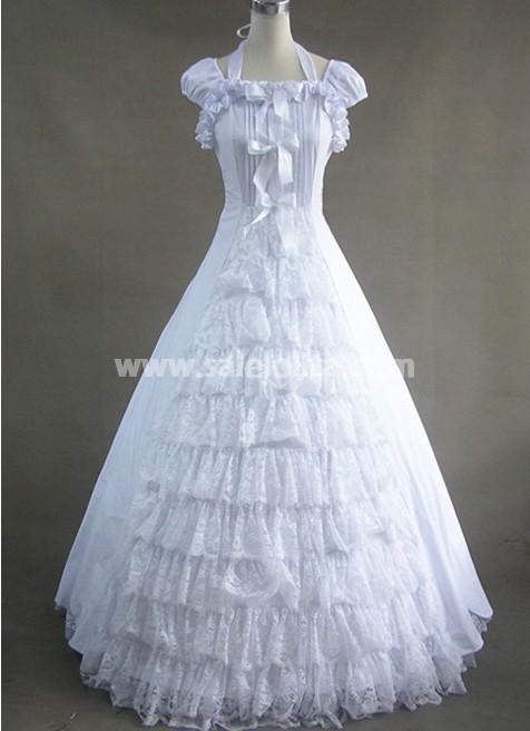 Elegant White Lace Victorian Dress Pattern