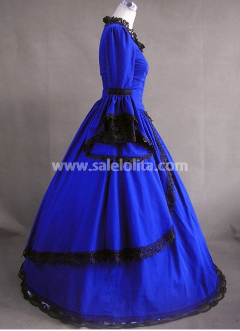 Royal Blue Vintage Victorian Dress for Sale - salelolita.com