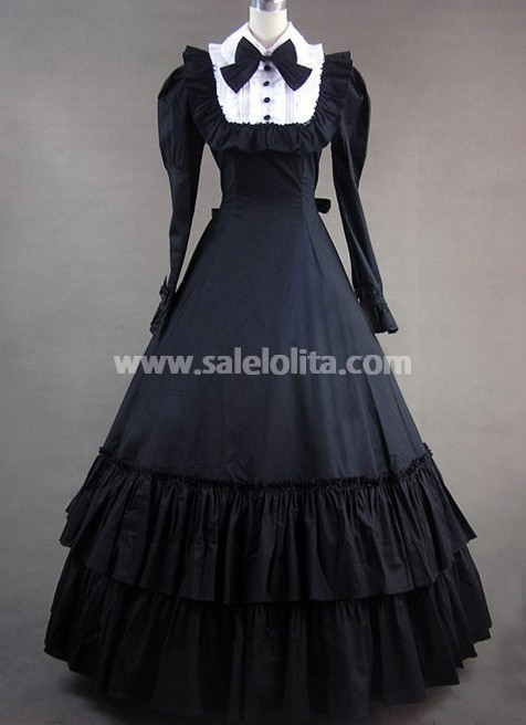Vintage Victorian Gothic Dress With Long Sleeves - salelolita.com