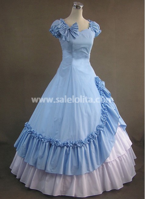Sky Blue And White Victorian Style Dress Salelolita Com