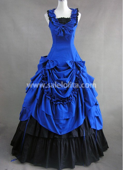 Jewelry Blue and Black Gothic Cotton Victorian Dress d9a73218cdac