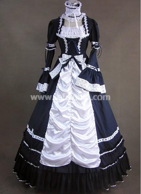 Black And White Cotton Aristocrat Victorian Style Dress