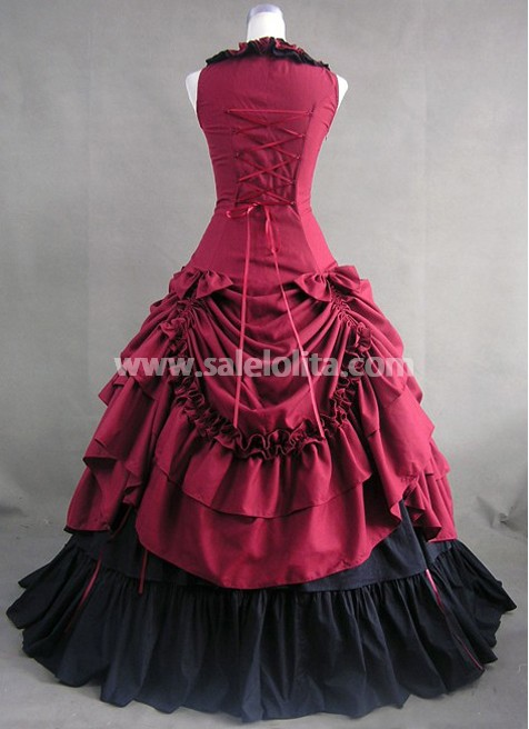 New Deep Red and Black Cotton Victorian Dress,Victorian Clothes For ...