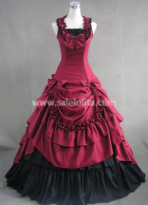 new Deep Red and Black Cotton Victorian Dress