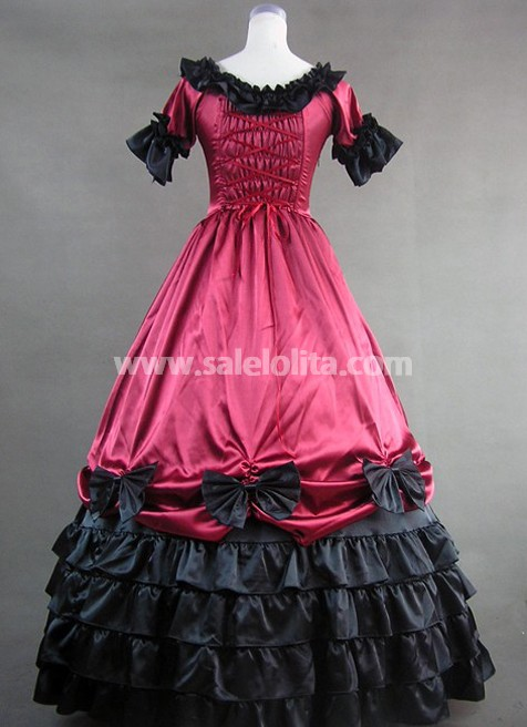 Deep Red Short Sleeves Gothic Victorian Dress