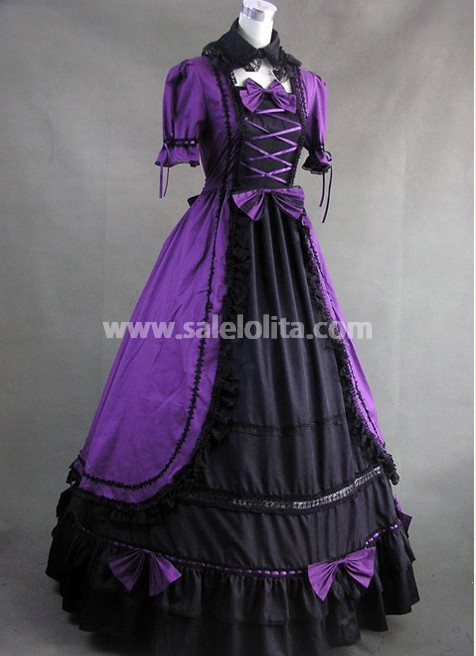 Purple and Black Gothic Victorian Dress With Lace decoration