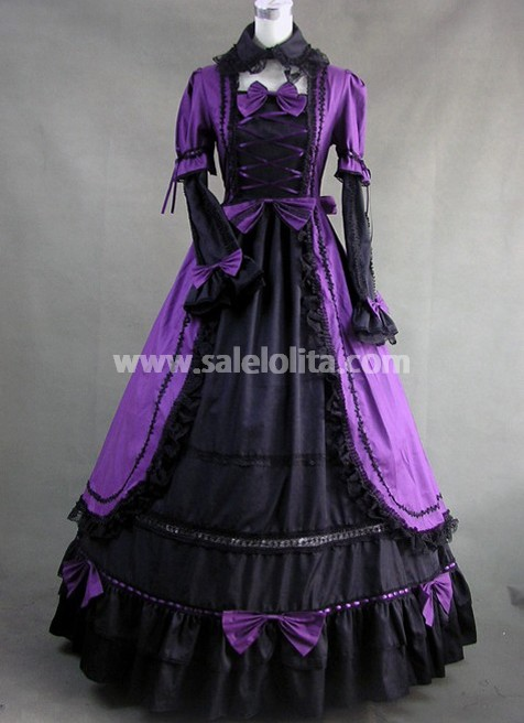purple and black gothic victorian dress with lace