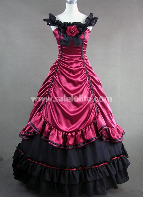 Deep Red and Black Satin Gothic Victorian Gown - salelolita.com