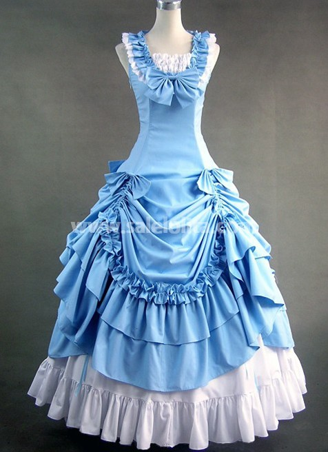 Plus Size Sky Blue Sleeveless Victorian Prom Gowns Dress ...