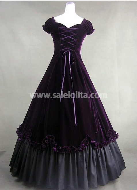 new Purple Cotton Gothic Victorian Dress