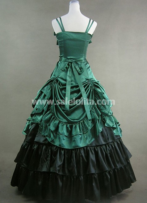 new Hot Green Satin Gothic Victorian Dress