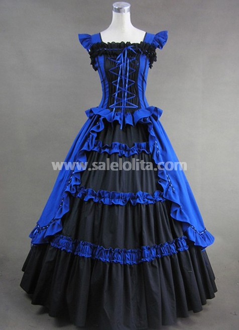 Royal Blue And Black Elegant Gothic Victorian Dress