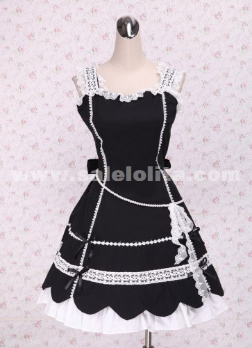 Brand New Sleeveless White Lace Hem Petal Shaped Skirt Bow Tie Gothic Lolita Dress 2018