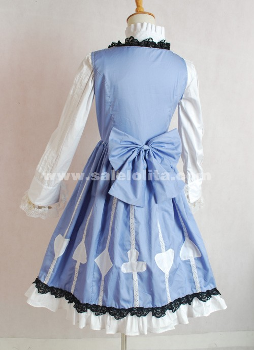 Brand New Light Blue Long Sleeve Lace Bow Printed Classic Lolita Dress